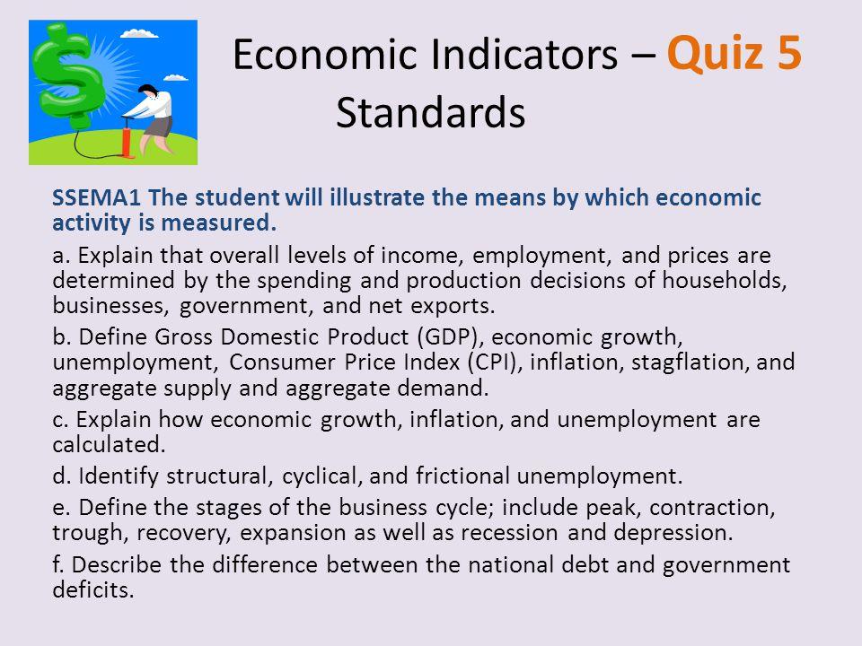 Economic Indicators – Quiz 5 Standards