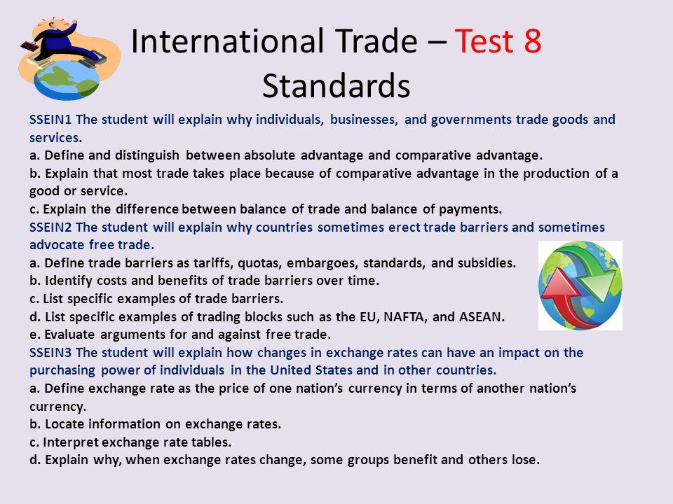 International Trade – Test 8 Standards