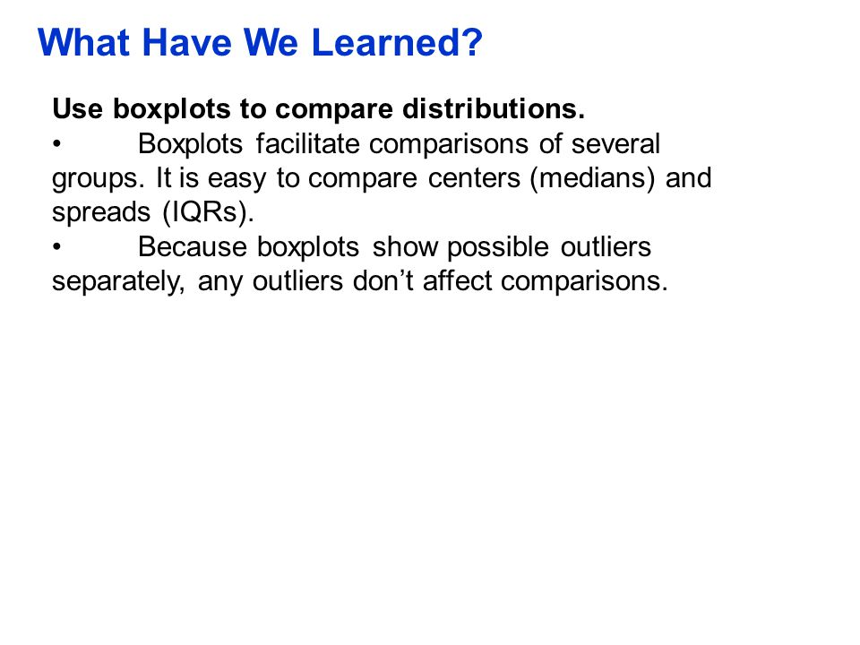 What Have We Learned Use boxplots to compare distributions.