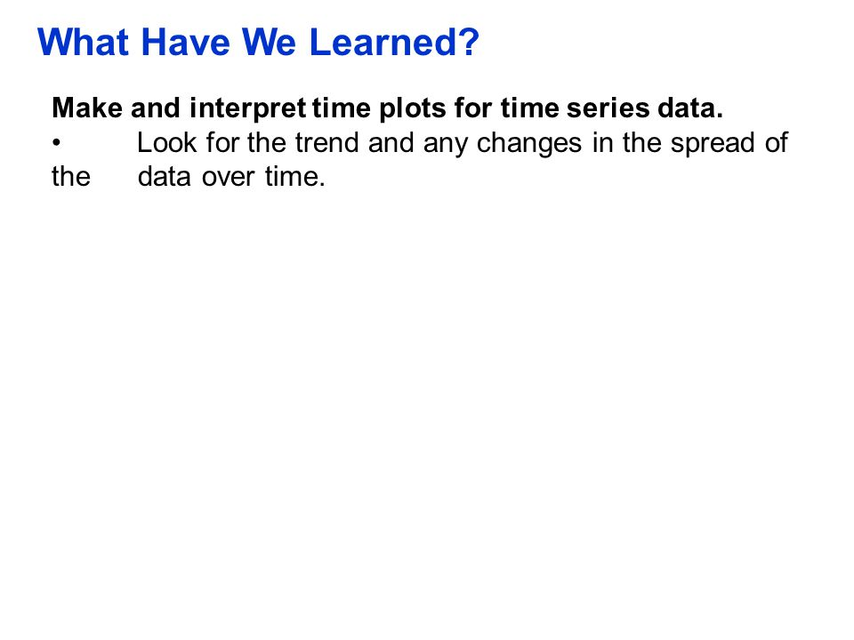 QTM1310/ Sharpe What Have We Learned Make and interpret time plots for time series data.