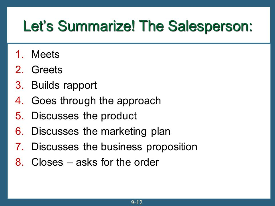 Let's Summarize! The Salesperson: