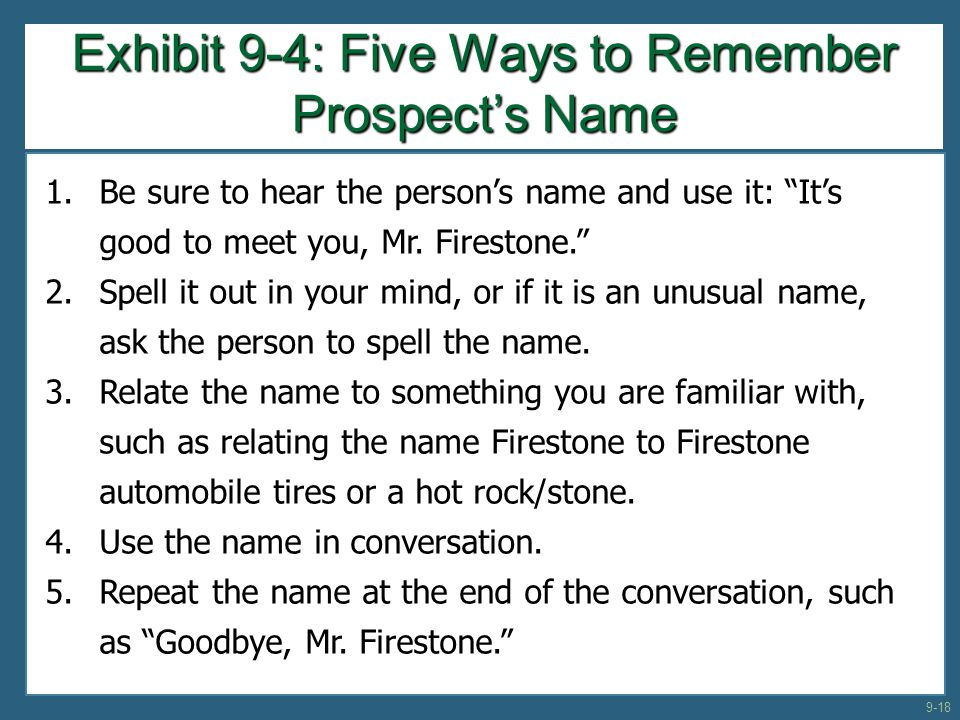 Exhibit 9-4: Five Ways to Remember Prospect's Name