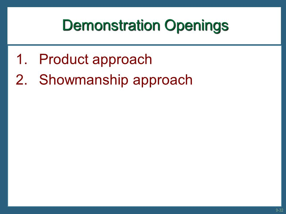 Demonstration Openings