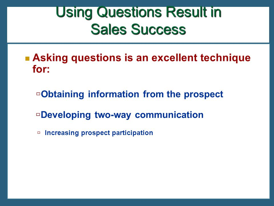 Using Questions Result in Sales Success