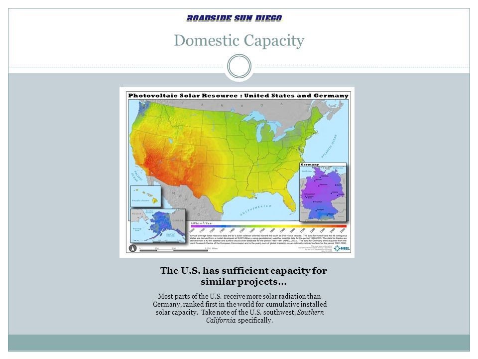 The U.S. has sufficient capacity for similar projects…