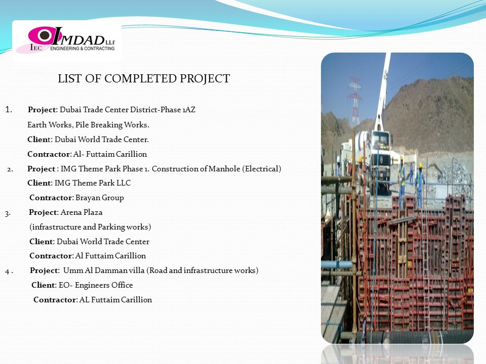 LIST OF COMPLETED PROJECT