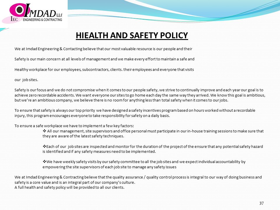 HIEALTH AND SAFETY POLICY