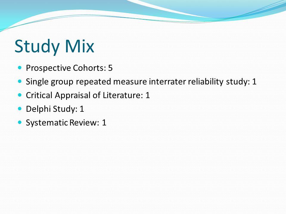 Study Mix Prospective Cohorts: 5