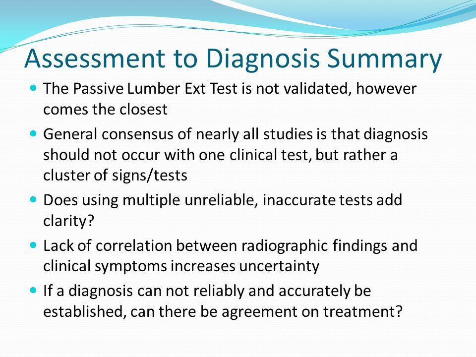 Assessment to Diagnosis Summary