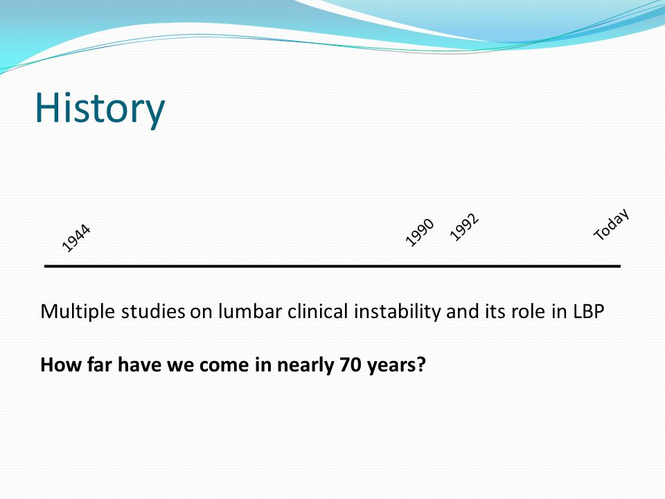 History 1992. Today. 1990. 1944. Multiple studies on lumbar clinical instability and its role in LBP.