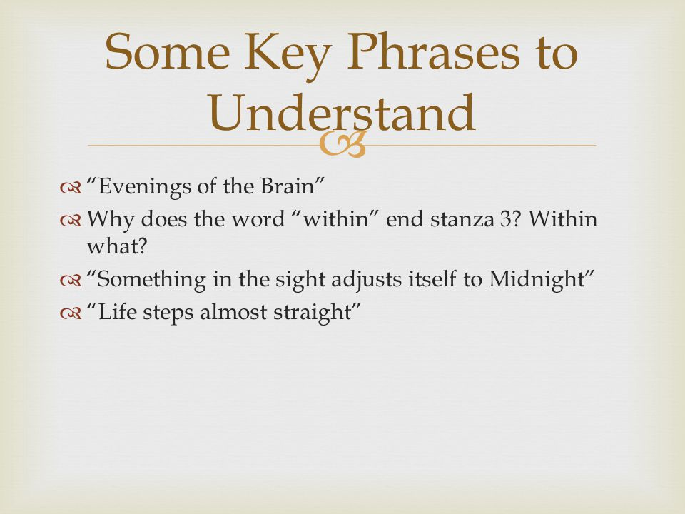 Some Key Phrases to Understand
