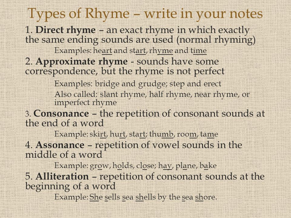 Types of Rhyme – write in your notes