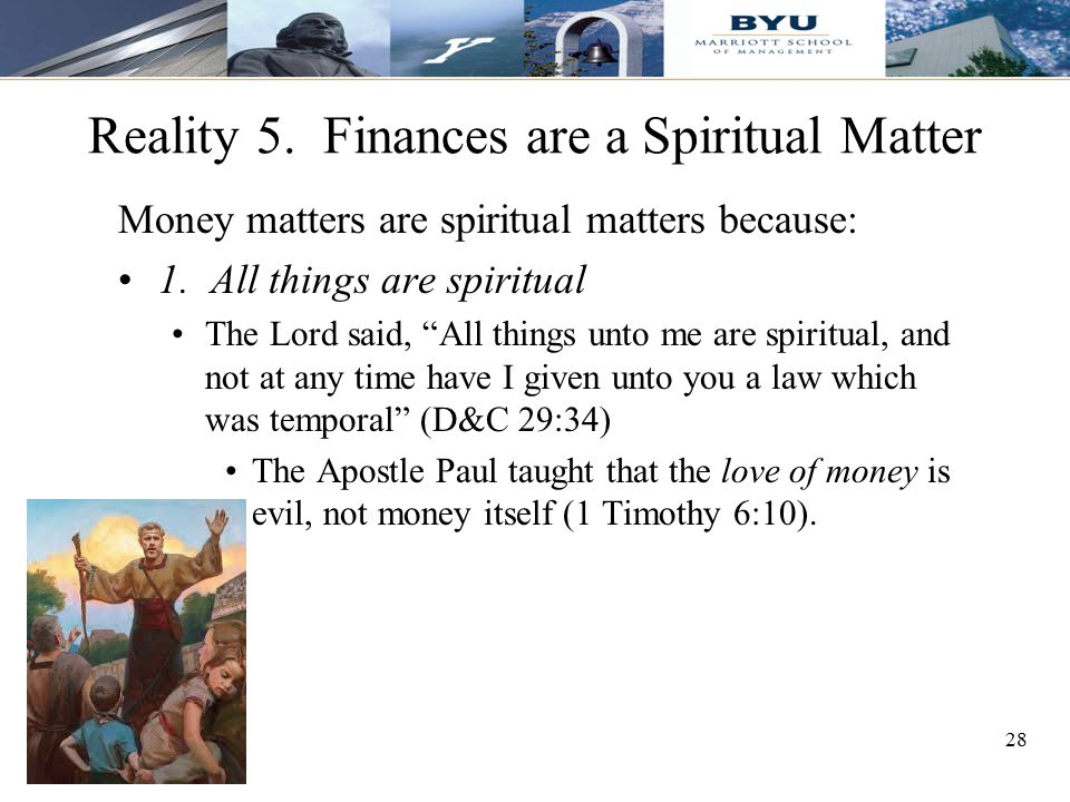 Reality 5. Finances are a Spiritual Matter