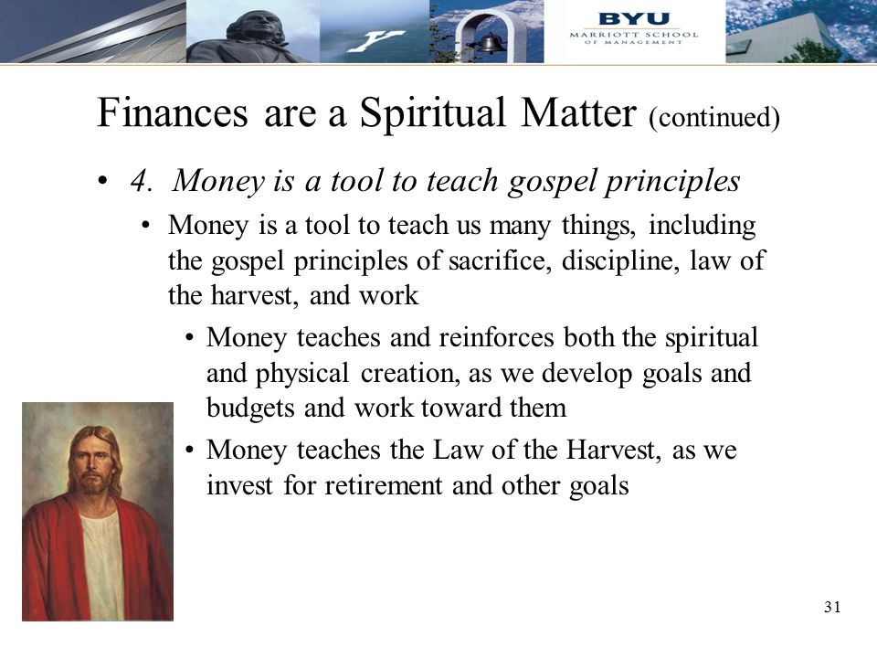 Finances are a Spiritual Matter (continued)