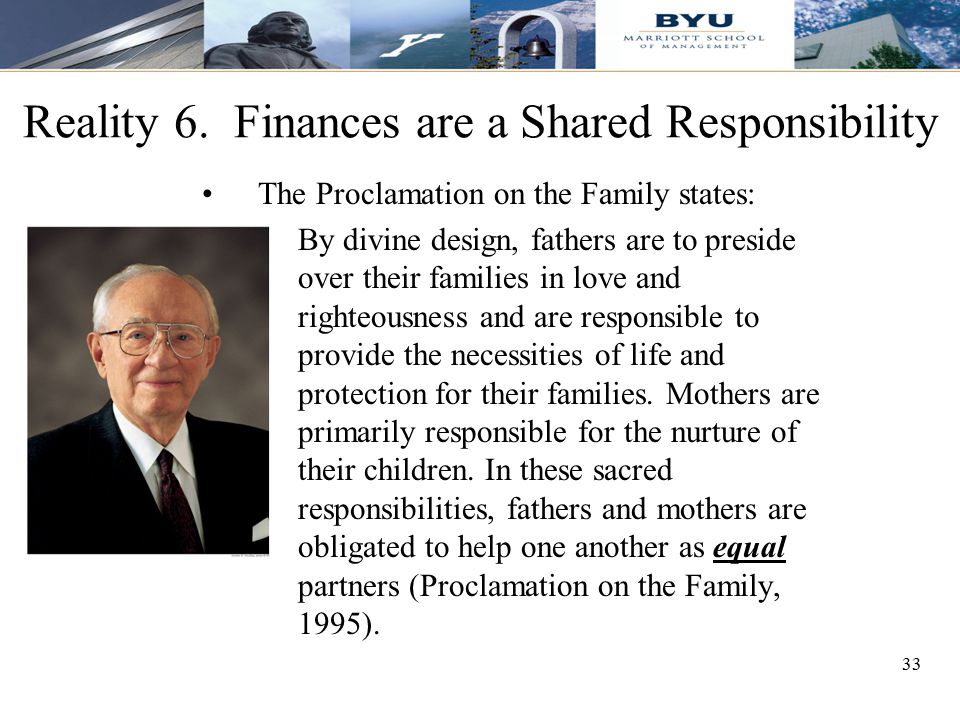 Reality 6. Finances are a Shared Responsibility