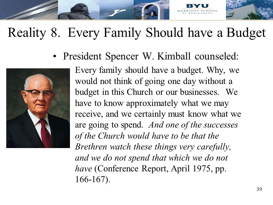 Reality 8. Every Family Should have a Budget