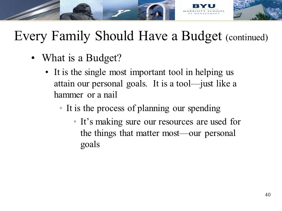 Every Family Should Have a Budget (continued)