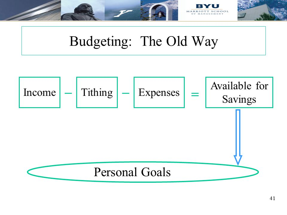 Budgeting: The Old Way Personal Goals Income Tithing Expenses