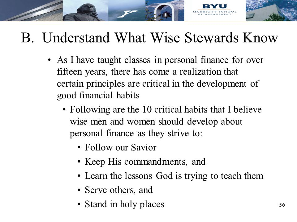 B. Understand What Wise Stewards Know