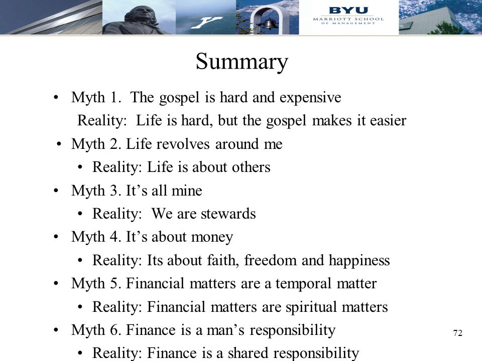 Summary Myth 1. The gospel is hard and expensive