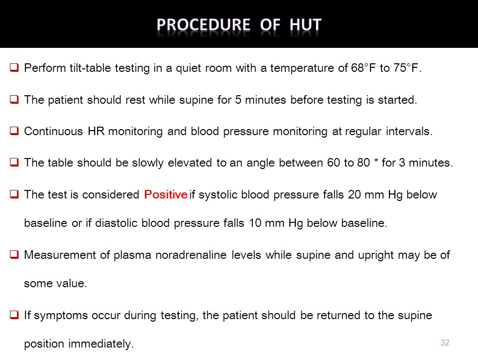 Procedure of HUT Perform tilt-table testing in a quiet room with a temperature of 68°F to 75°F.