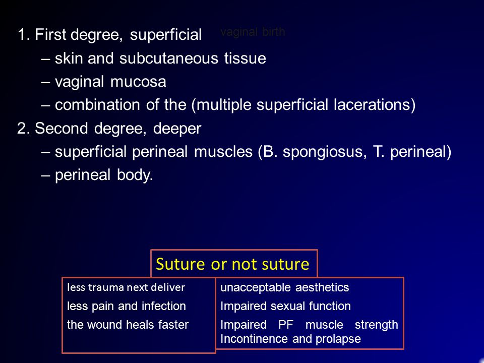 Suture or not suture 1. First degree, superficial