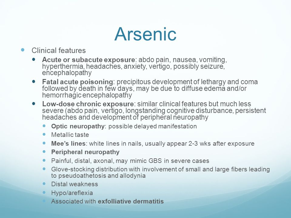 Arsenic Clinical features