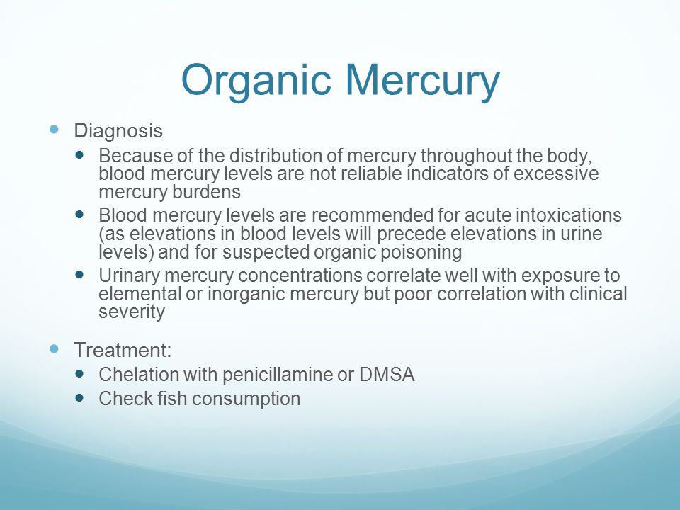 Organic Mercury Diagnosis Treatment: