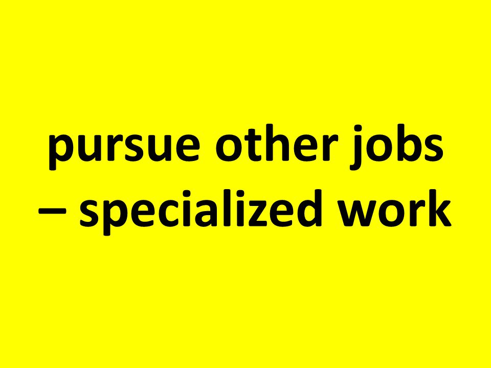 pursue other jobs – specialized work