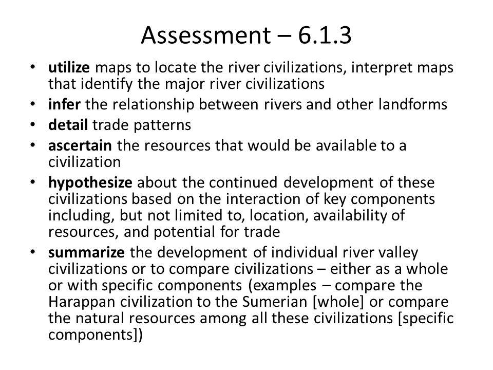 Assessment – 6.1.3 utilize maps to locate the river civilizations, interpret maps that identify the major river civilizations.