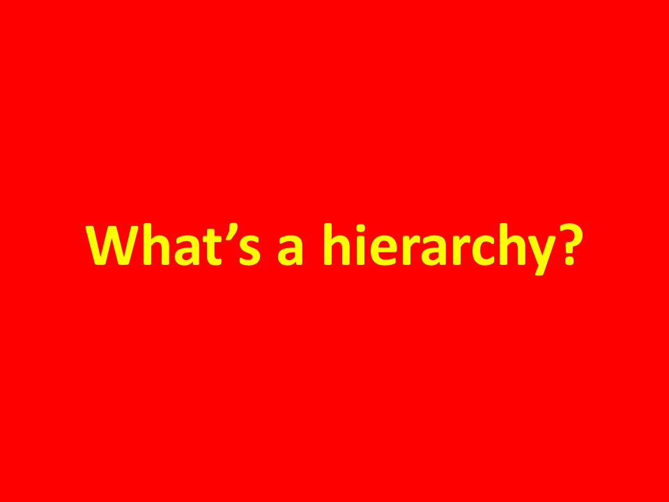 What's a hierarchy