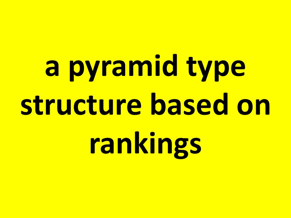 a pyramid type structure based on rankings
