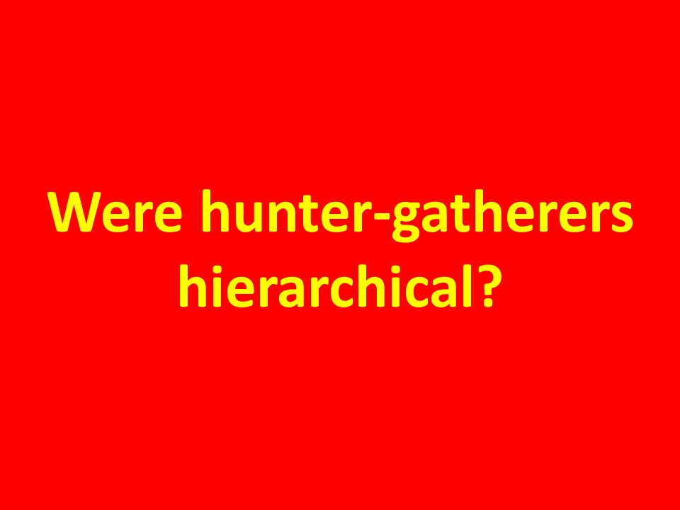 Were hunter-gatherers hierarchical