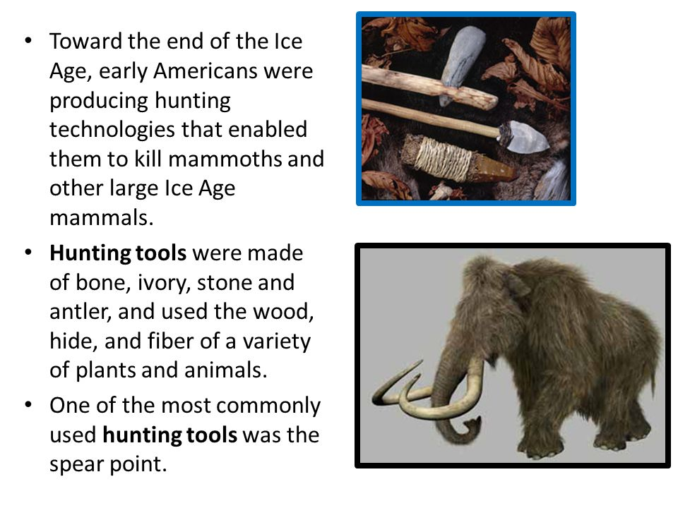 Toward the end of the Ice Age, early Americans were producing hunting technologies that enabled them to kill mammoths and other large Ice Age mammals.