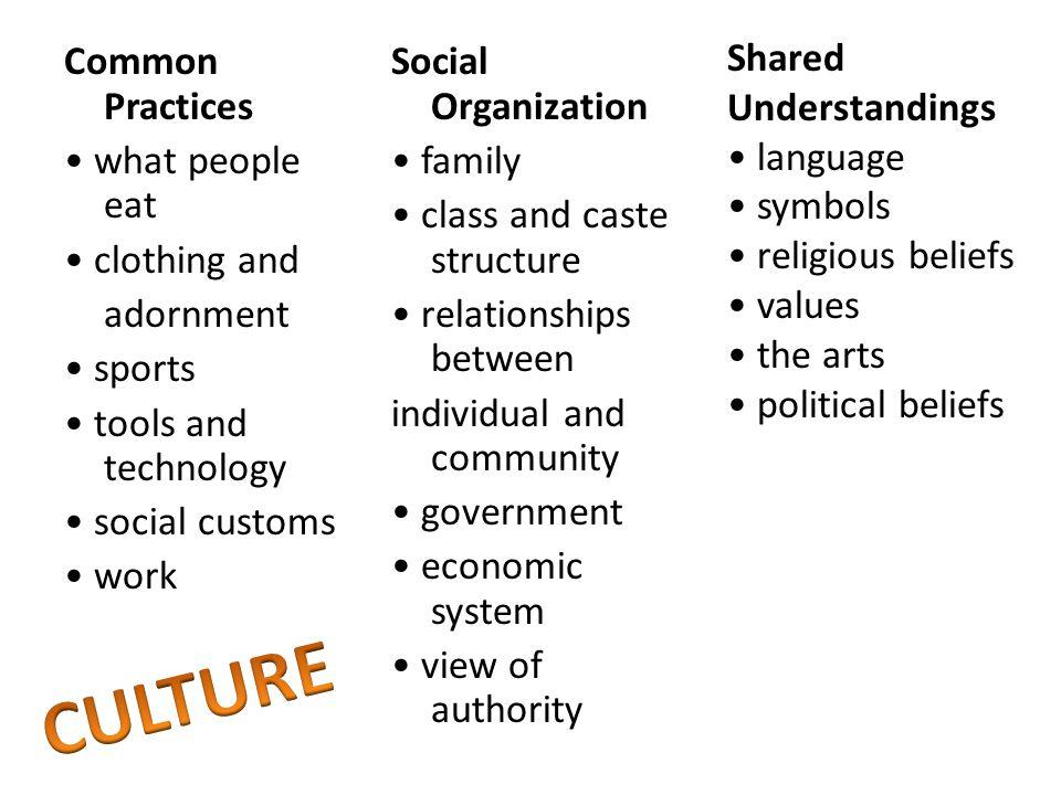 CULTURE Shared Understandings • language • symbols • religious beliefs