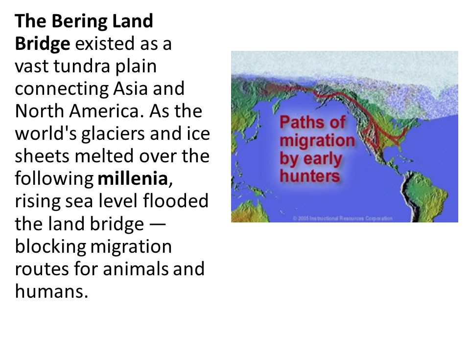 The Bering Land Bridge existed as a vast tundra plain connecting Asia and North America.