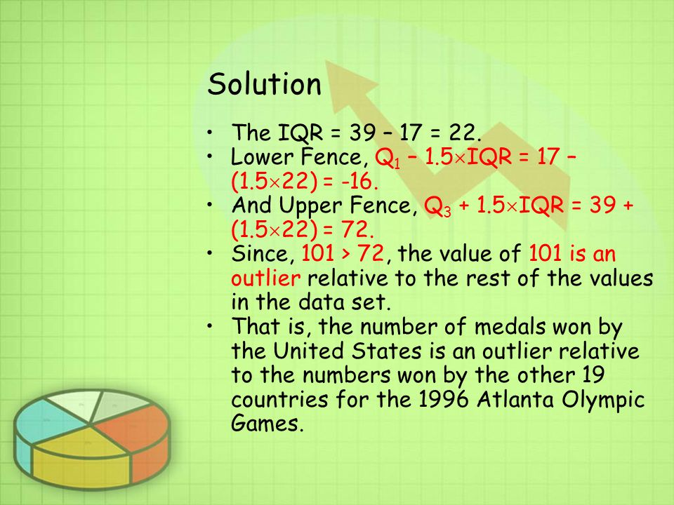 Solution The IQR = 39 – 17 = 22. Lower Fence, Q1 – 1.5IQR = 17 – (1.522) = -16. And Upper Fence, Q3 + 1.5IQR = 39 + (1.522) = 72.