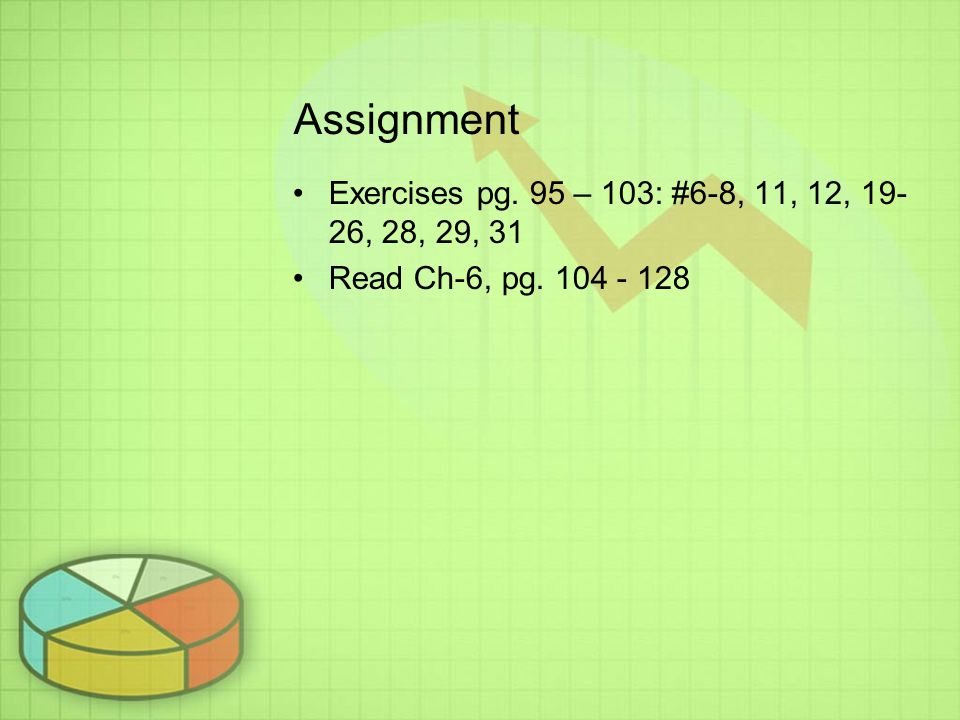 Assignment Exercises pg. 95 – 103: #6-8, 11, 12, 19-26, 28, 29, 31