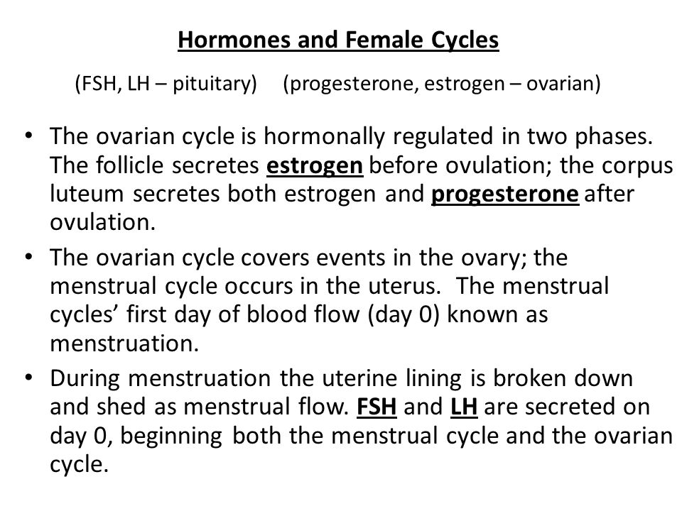 Hormones and Female Cycles (FSH, LH – pituitary) (progesterone, estrogen – ovarian)