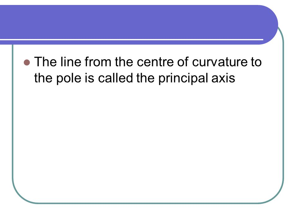 The line from the centre of curvature to the pole is called the principal axis
