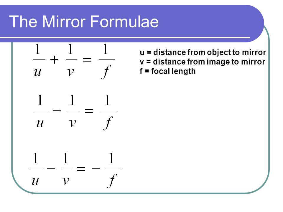 The Mirror Formulae u = distance from object to mirror