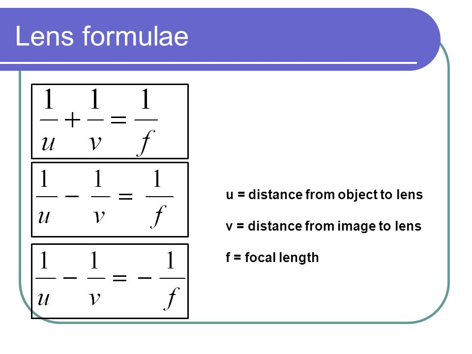 Lens formulae u = distance from object to lens