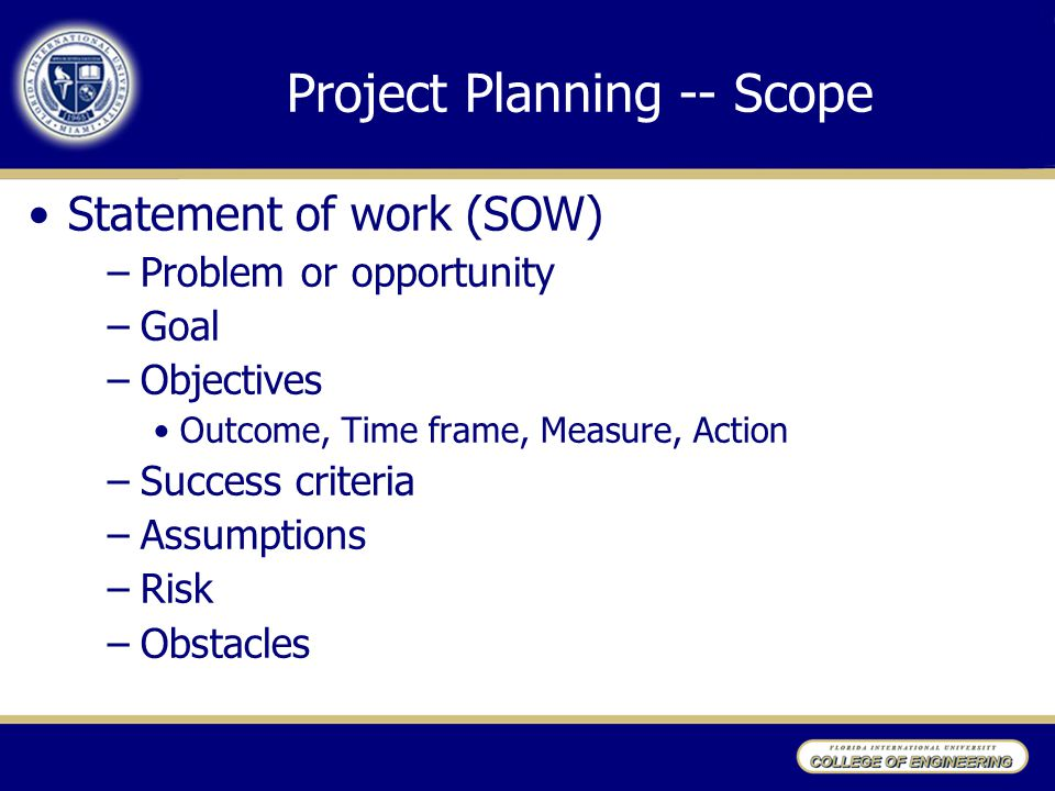 Project Planning -- Scope