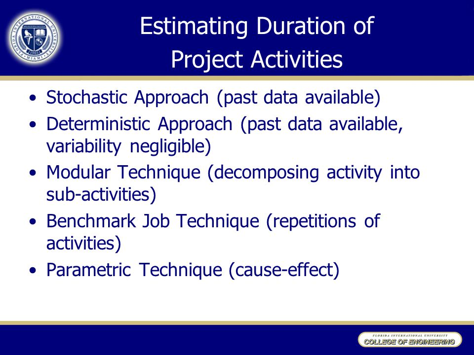 Estimating Duration of Project Activities