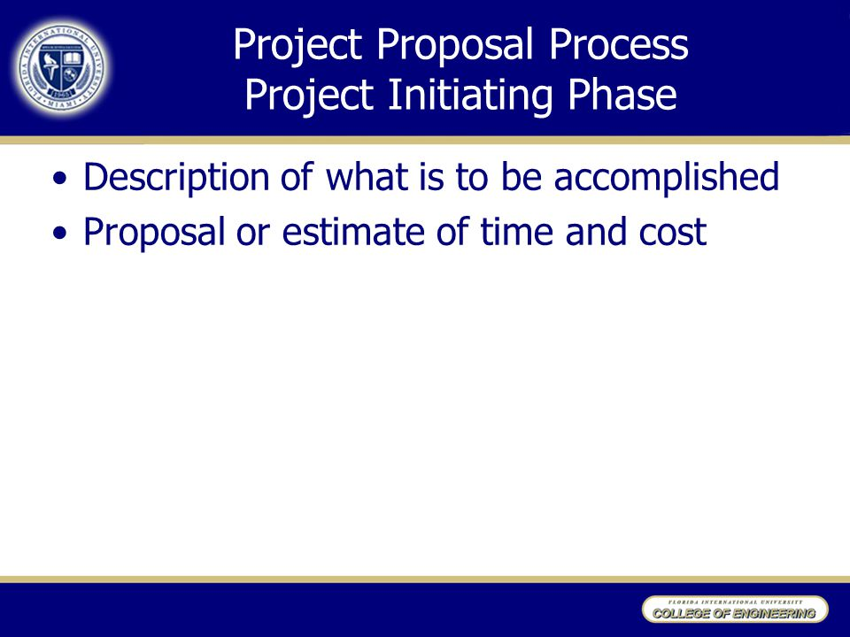 Project Proposal Process Project Initiating Phase