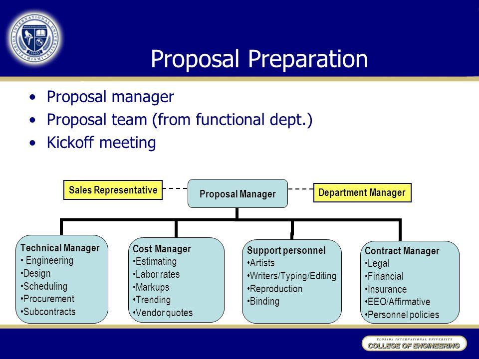 Proposal Preparation Proposal manager