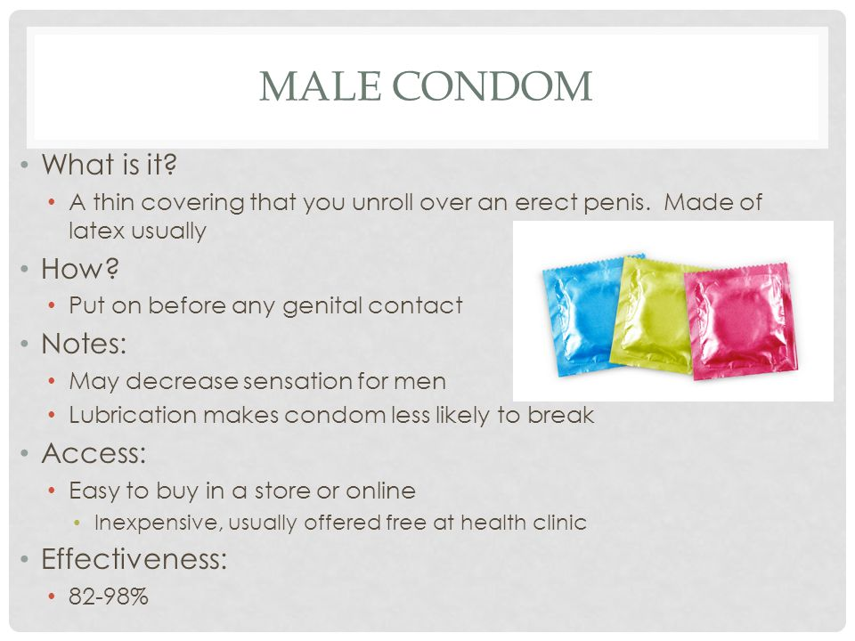 Male condom What is it How Notes: Access: Effectiveness: