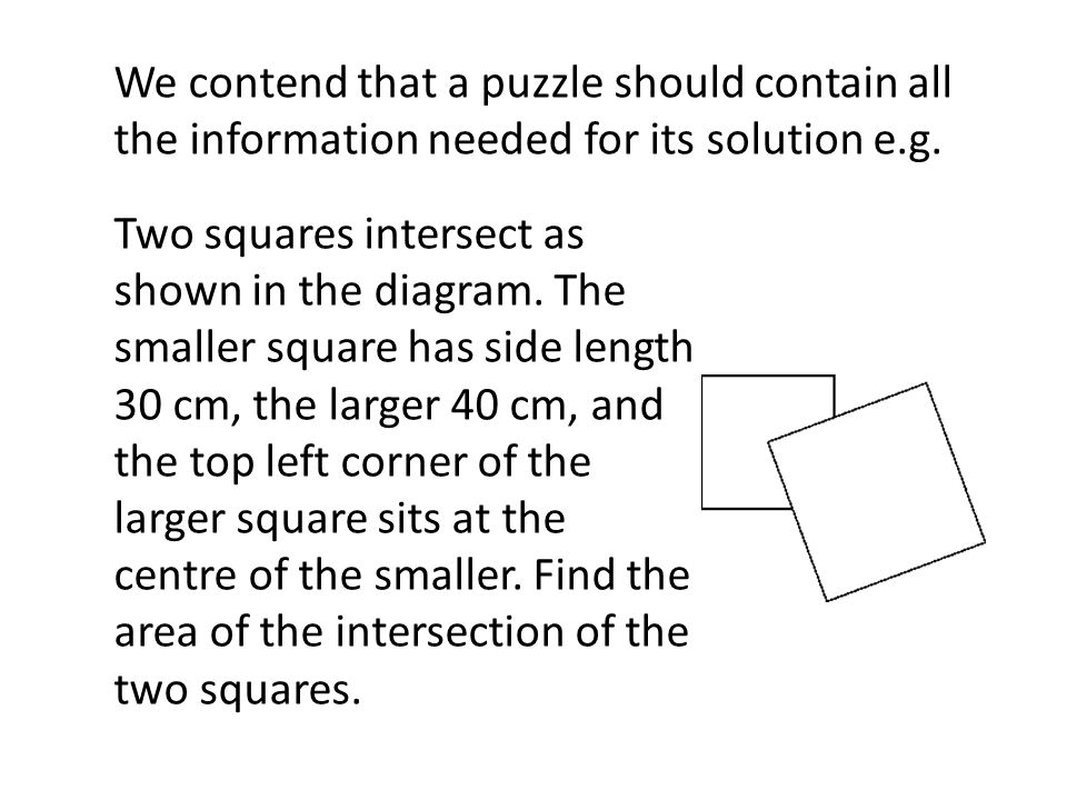We contend that a puzzle should contain all the information needed for its solution e.g.