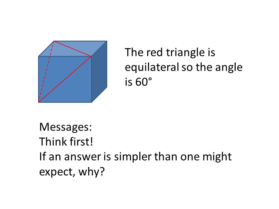 The red triangle is equilateral so the angle is 60°