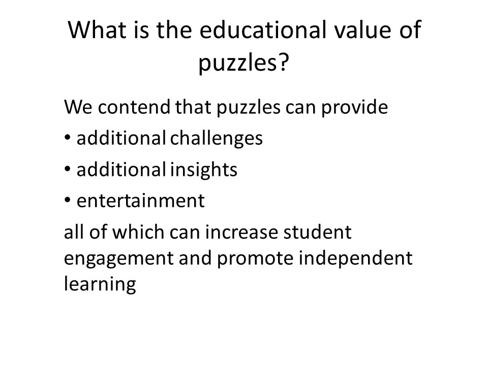 What is the educational value of puzzles